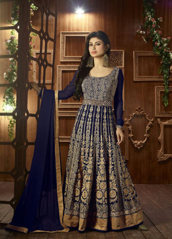Mouni Roy Blue and Gold Embroidered Anarkali