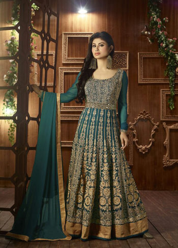 Mouni Roy Teal and Gold Embroidered Anarkali