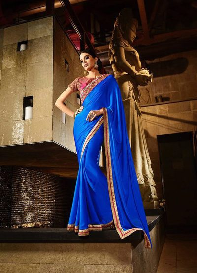 Blue and Pink Embroidered Satin Saree