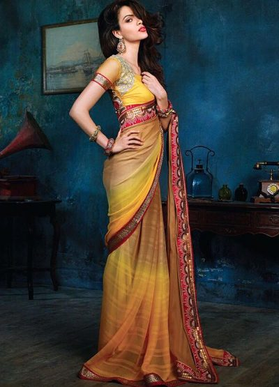 Mustard Yellow and Beige Shaded Party Wear Saree