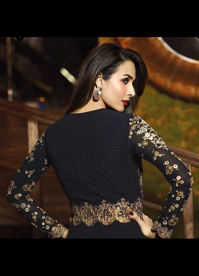 Malaika Black and Gold Pant Slit Anarkali