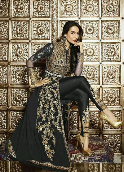 Malaika Black and Gold Embroidered Pant Style Anarkali