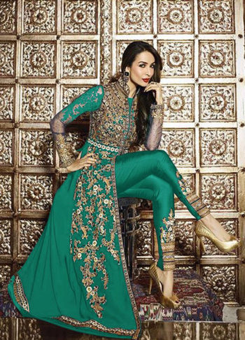 Malaika Green and Gold Embroidered Pant Style Anarkali