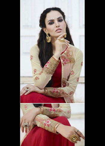 Red and Cream Embroidered Jacket Style Anarkali