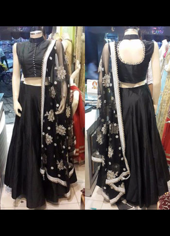 Black Raw Silk Lehenga
