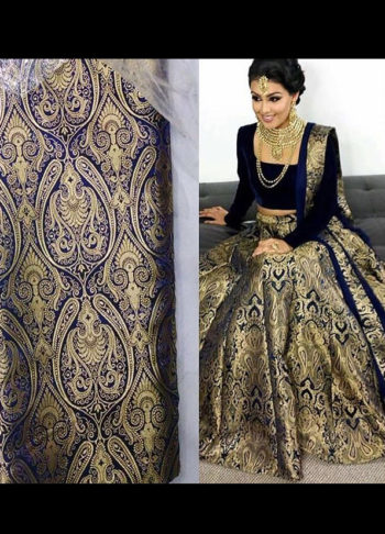 Navy Blue Pure Brocade Lehenga Set
