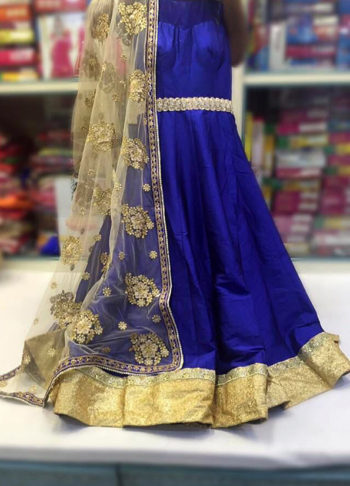 Blue Raw Silk Anarkali Suit