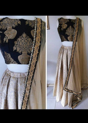 Cream and Gold Embroidered Broacade Lehenga