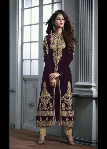 Purple and Gold Embroidered Velvet Suit