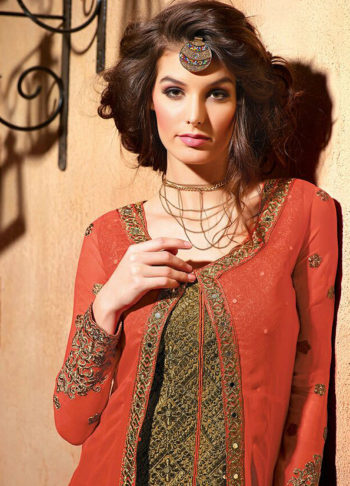 Orange and Gold Embroidered jacket Style Suit