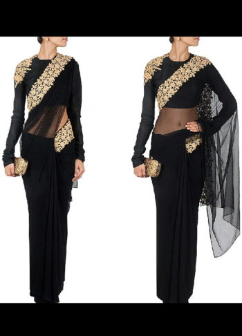 Black Embroidered Raw Silk Saree
