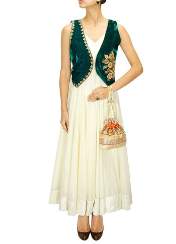 Green and White Jacket Style Anarkali