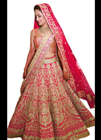 Pink and Gold Heavy Embroidered Bridal Lehenga