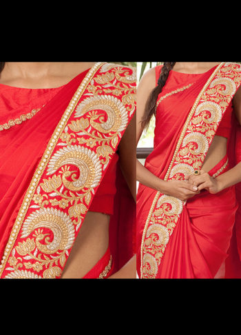 Red Designer Embroidered Saree