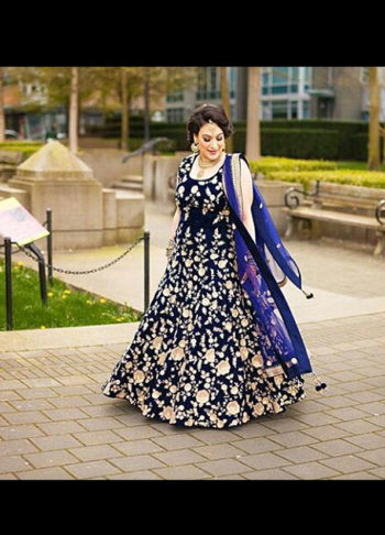 Navy Blue Velvet Embroidered Heavy Anarkali