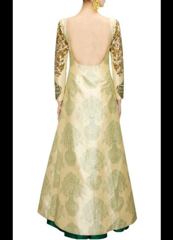 Beige Raw Silk Floor Length Kurta