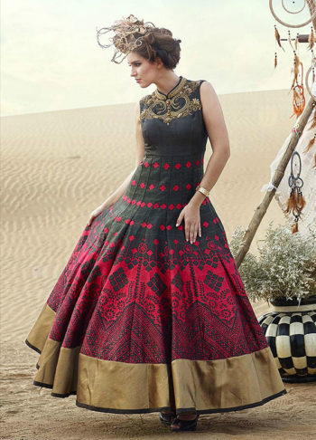 Black and Red Designer Printed Anarkali