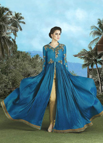 Blue and Golden Beige Embroidered Pant Style Anarkali