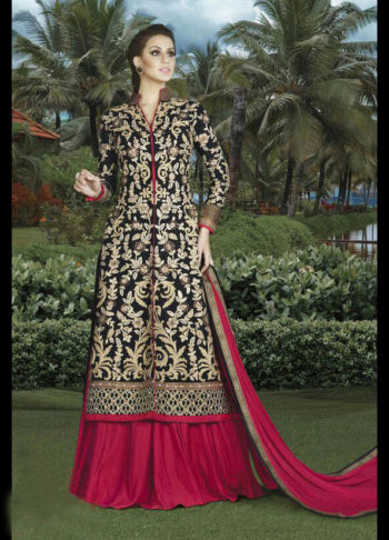 Black and Pink Embroidered Pant Suit / Lehenga
