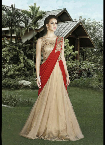 Light Beige and Red Embroidered Gown