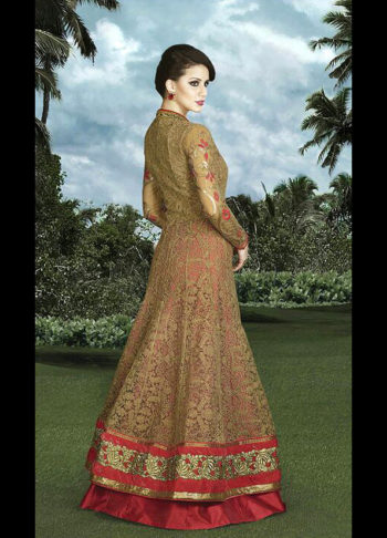 Beige and Red Embroidered Lehenga Anarkali