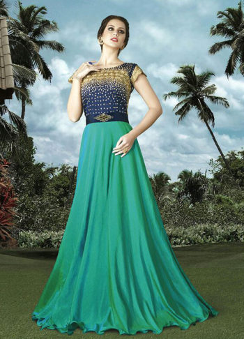 Shaded Green and Blue Embroidered Anarkali Gown