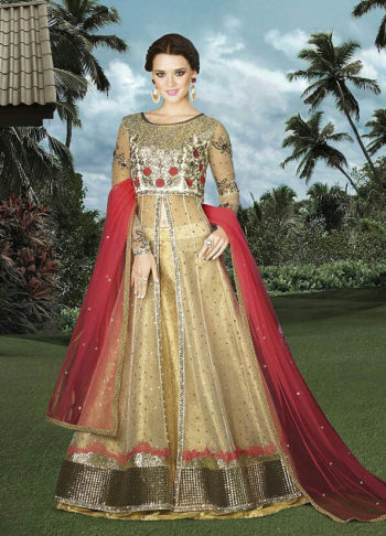 Gold and Red Embroidered Lehenga Anarkali