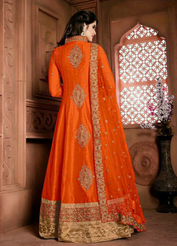 Orange and Gold Embroidered Anarkali