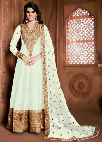 White and Gold Embroidered Anarkali