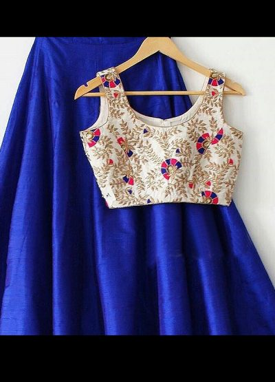 Blue and Light Gold Raw Silk Lehenga