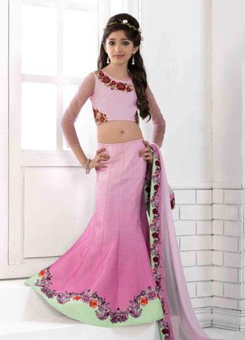 Baby Pink Shaded Embroidered Lehenga Choli