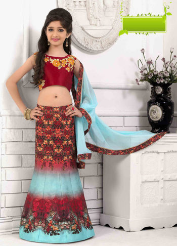Red and Sky Blue Embroidered + Printed Lehenga