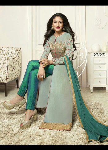 Grey and Green Embroidered Suit