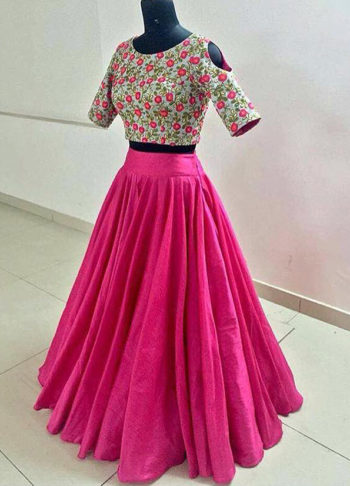 Pink Floral Lehenga Choli