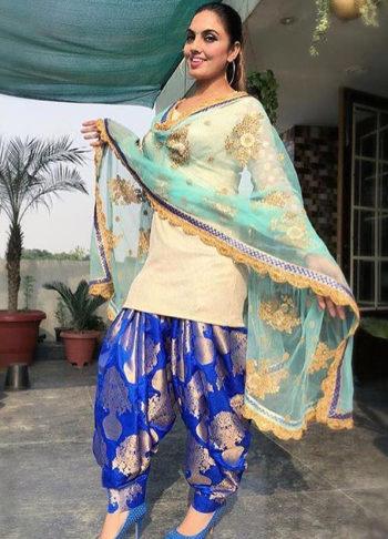 White and Blue Punjabi Suit