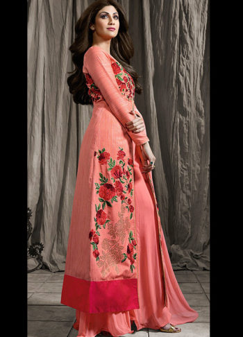 Shilpa Pink Embroidered Palazzo Suit