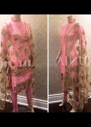 Pnk and Gold Embroidered Suit