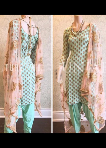 Light Pista and Gold Embroidered Punjabi Suit