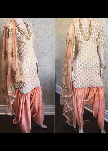 Offwhite and Peach Embroidered Punjabi Suit