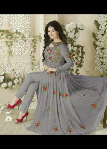 Ayesha Grey Embroidered Pant Style Anarkali