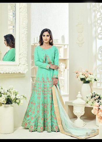 Pista Green Embroidered Jacket Style Anarkali