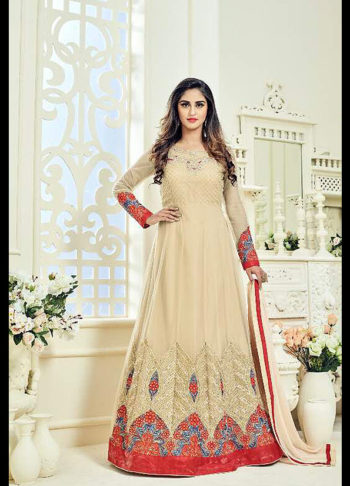 Cream and Red Embroidred Anarkali