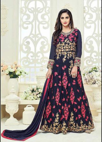 Deep Blue Floral Embroidred Anarkali