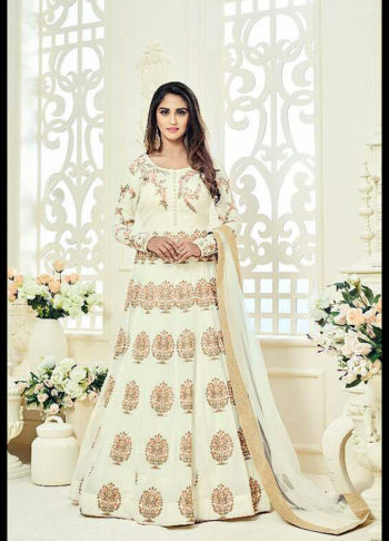 White Floral Embroidred Anarkali