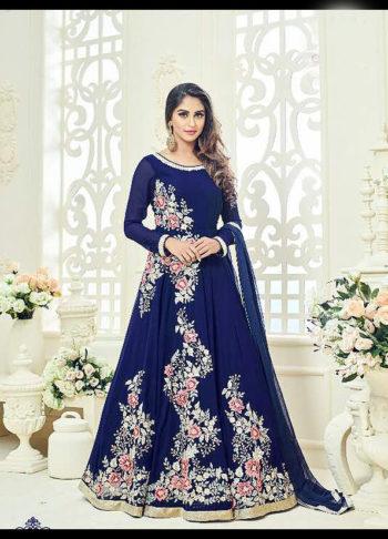 Blue Floral Embroidered Anarkali