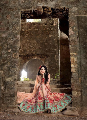Peach Floral Embroidered Anarkali