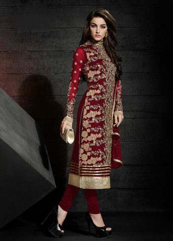 Red Heavy Embroidered Straight Suit