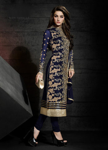 Deep Blue Heavy Embroidered Straight Suit