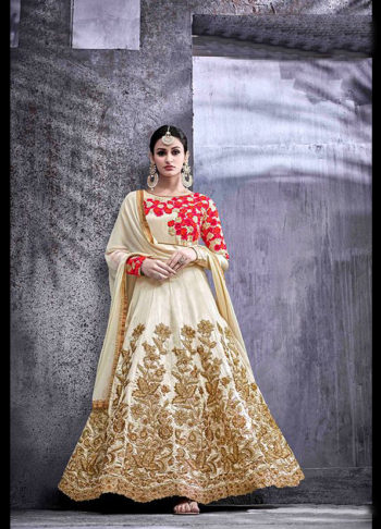 Cream and Gold Floral Embroidered Anarkali