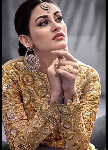 Golden Beige Heavy Embroidered Anarkali